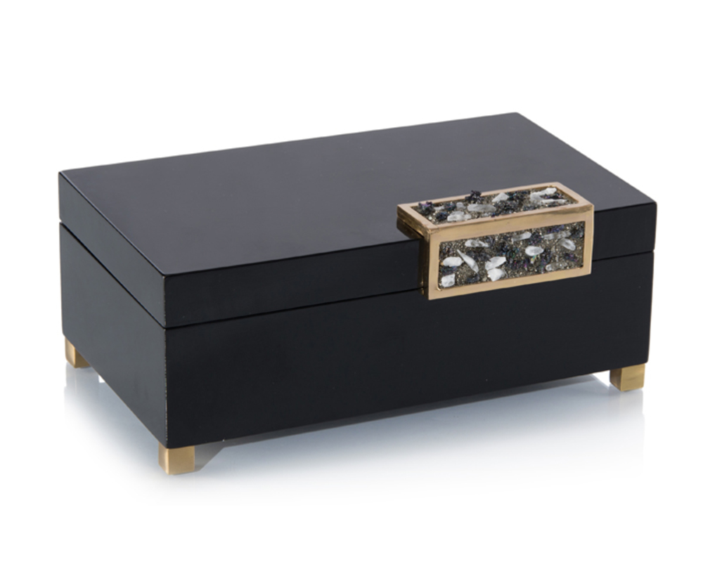 John Richard Collection - Black Box with Silver Stone Accent