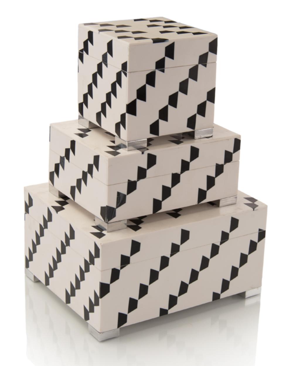 John Richard Collection - Black and White Etcher Boxes, Set/3