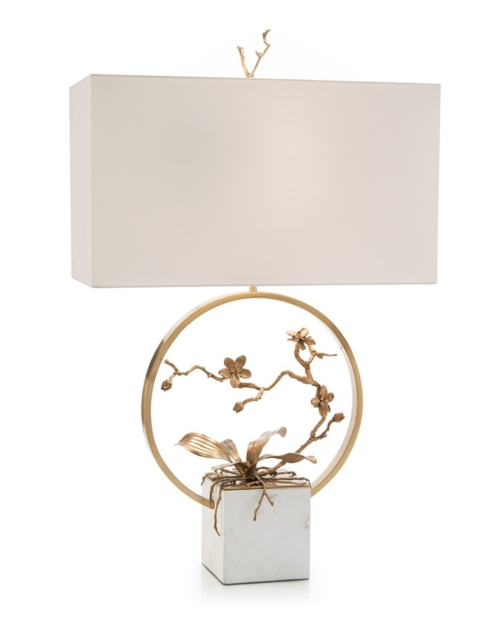 John Richard Collection - Antique Brass Orchid Table Lamp