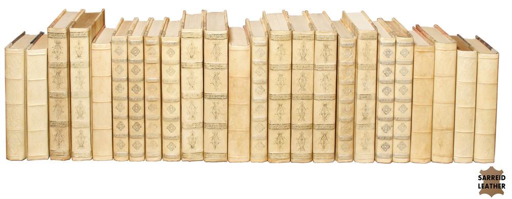 Sarreid - White Leather & Paper Books, Set/4