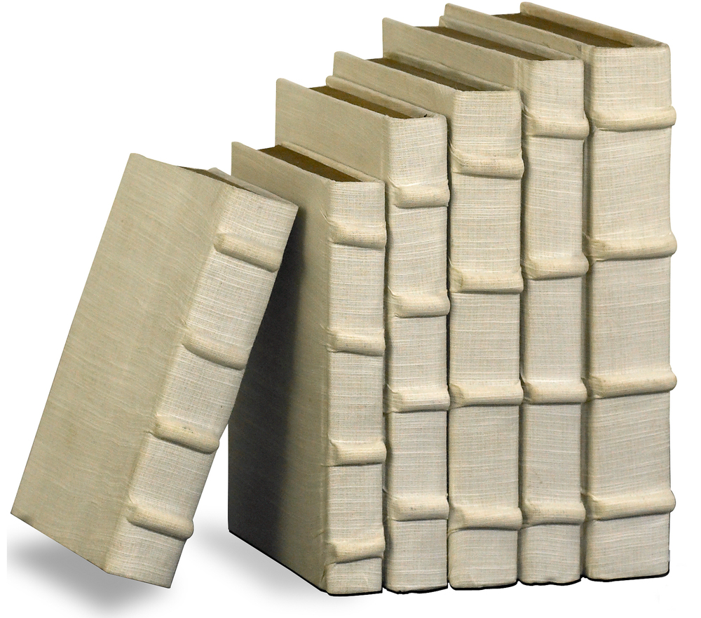 Sarreid - Ecru Linen Books, Set/6