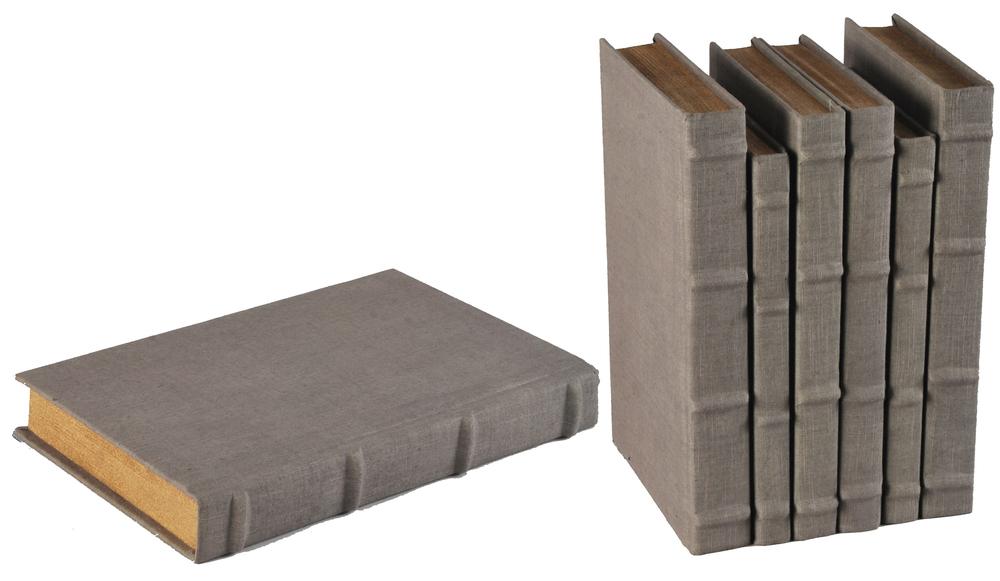 Sarreid - Heather Gray Linen Books, Set/6