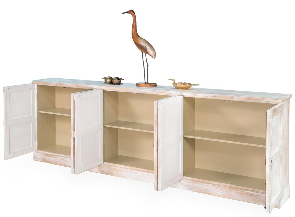 Sarreid - Luciana Six Wood Door Buffet, Distressed White