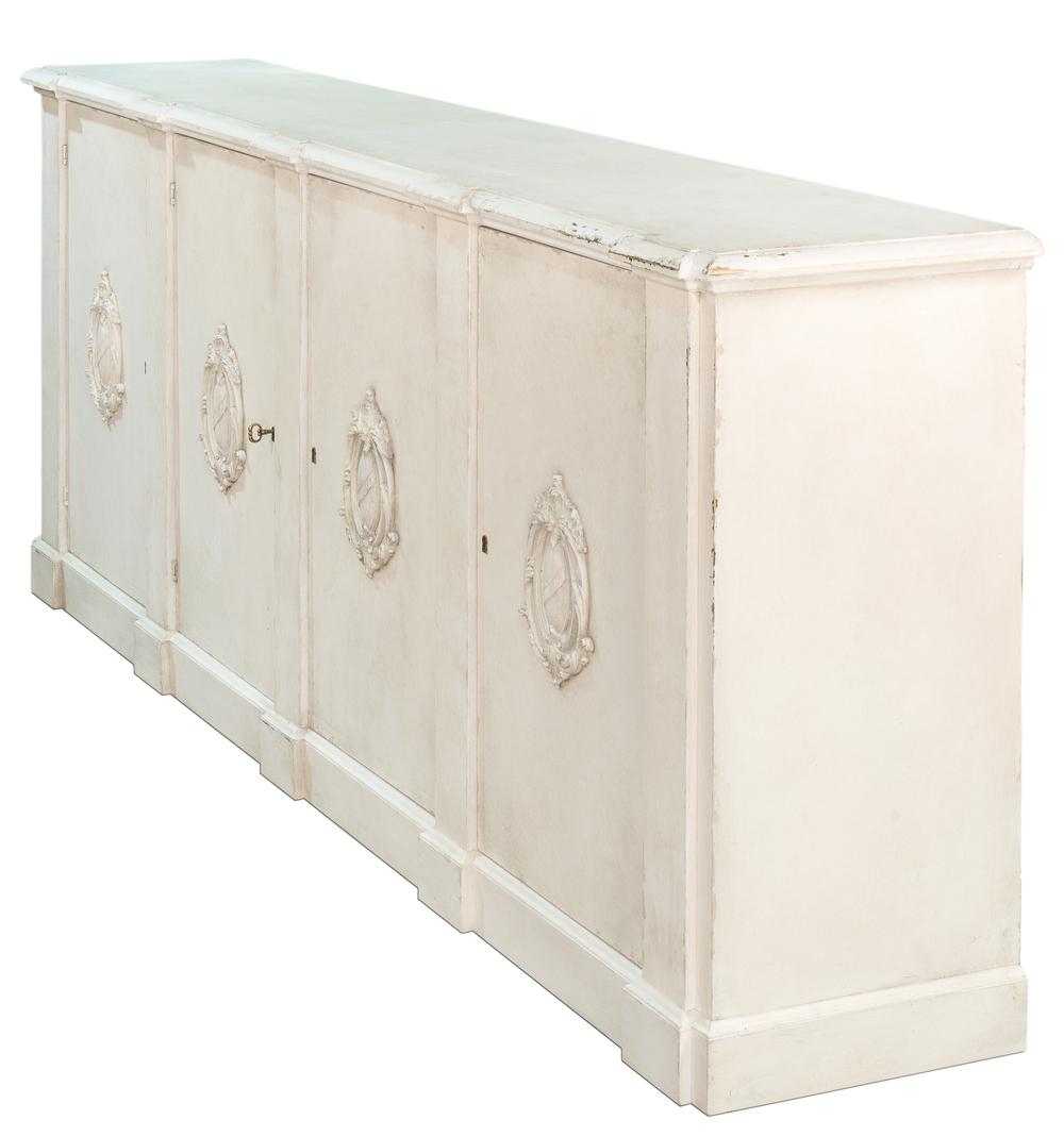 Sarreid - Crested Wall Cabinet, White/White