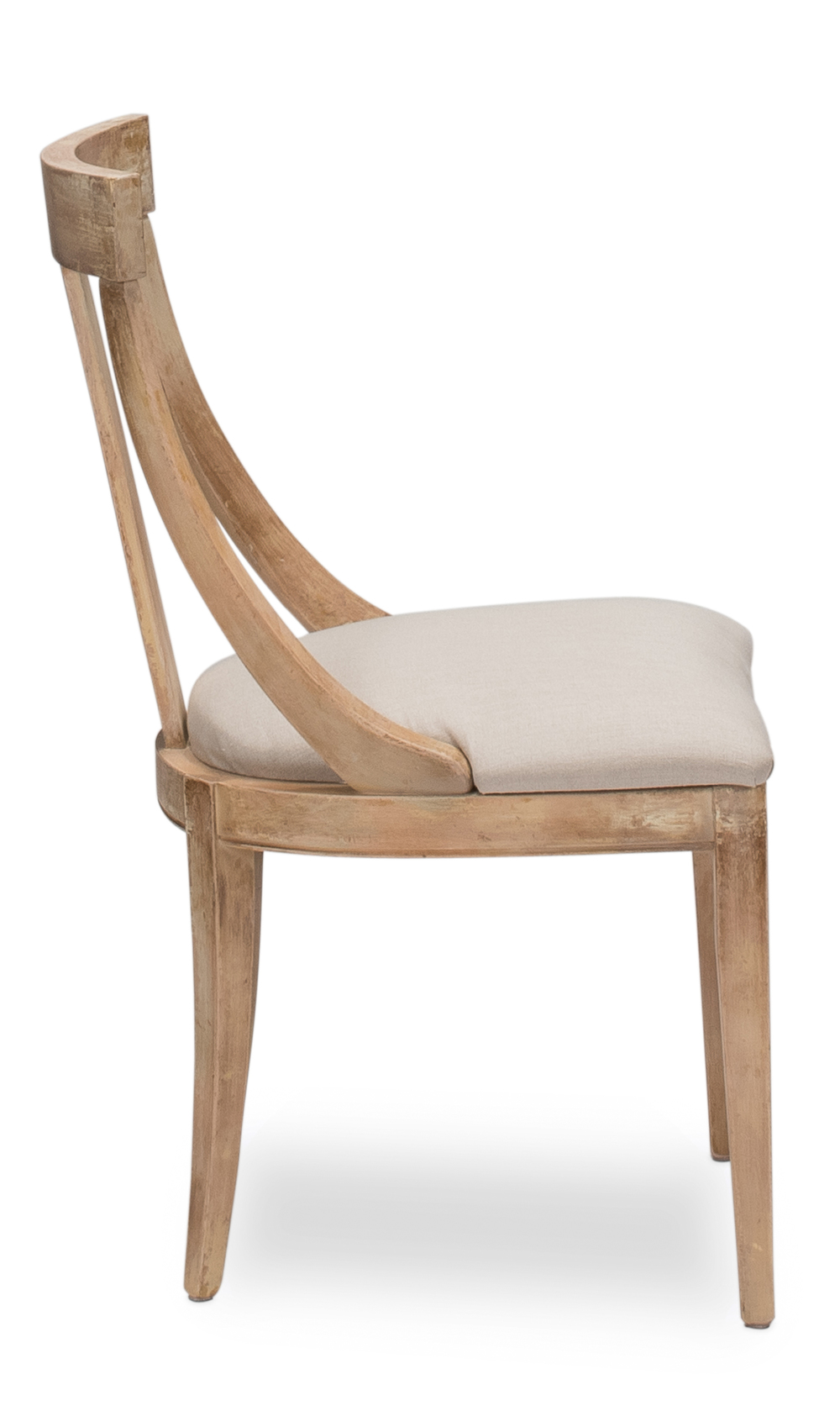 Sarreid - Deco Side Chair, Antique Oak, Linen Flax