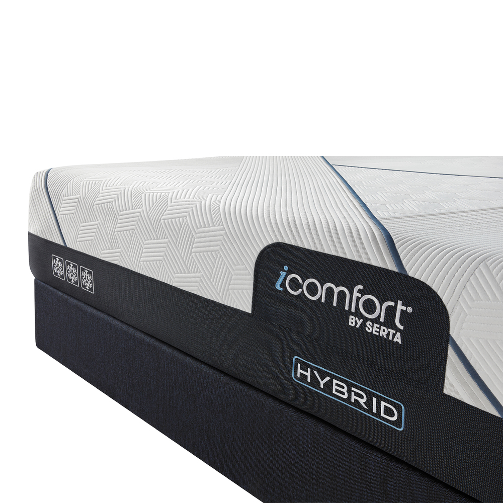 Serta Mattress - iComfort CF3000 Non-Quilted Hybrid Plush Mattress with Low Profile Box Spring
