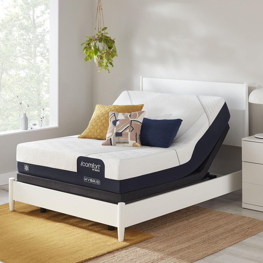 Serta Mattress - iComfort CF1000 Non-Quilted Hybrid Medium Mattress with Motion Perfect IV Adjustable Base