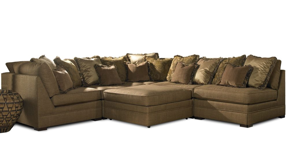 Sherrill Furniture Company - Six Piece Corner Sectional with Ottoman