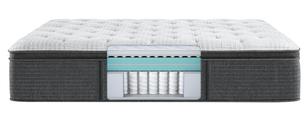 Beautyrest - BRS900-C Silver Plush Pillow Top Mattress with Low Profile Box Spring