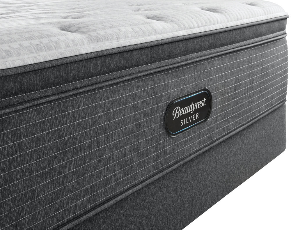 Beautyrest - BRS900-C Silver Plush Pillow Top Mattress with BR Black Luxury Motion Base