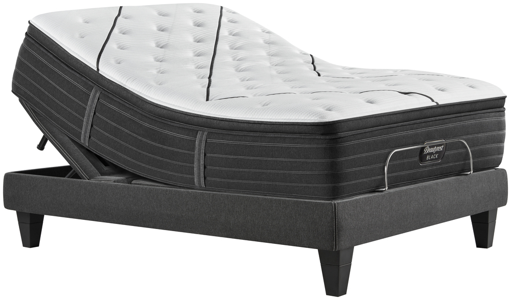 Beautyrest - BR Black L Class Plush PT Mattress with BR Black Luxury Motion Base