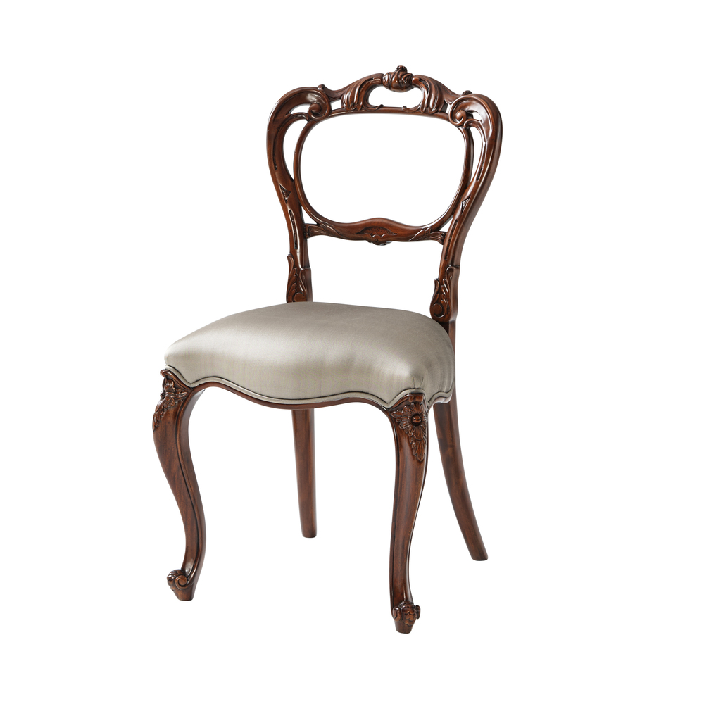 Theodore Alexander - A Fine Hand Carved Buckle Back Side Chair