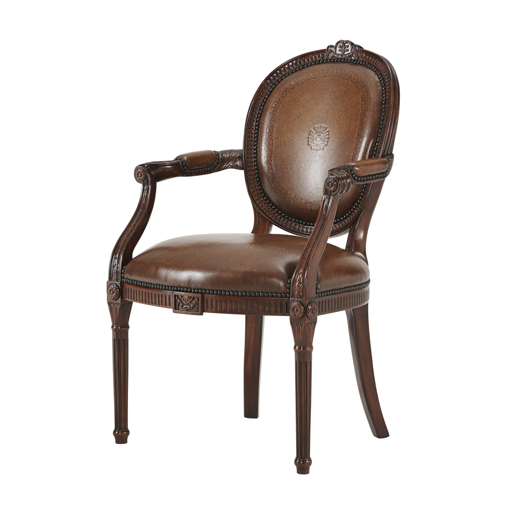 THEODORE ALEXANDER - A Hand Carved Neo-Classical Open Arm Chair After Adam