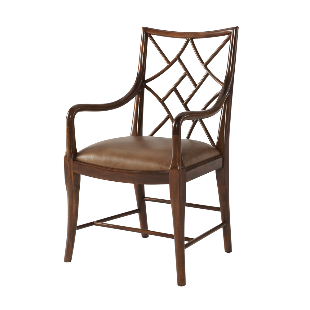 THEODORE ALEXANDER - A Delicate Trellis Arm Chair