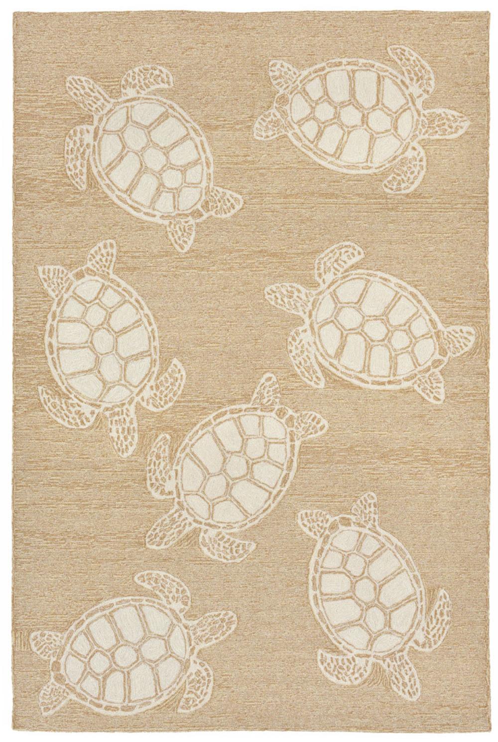 """Trans-Ocean Import - Capri Turtle Neutral Rug, 5'x7'6"""""""