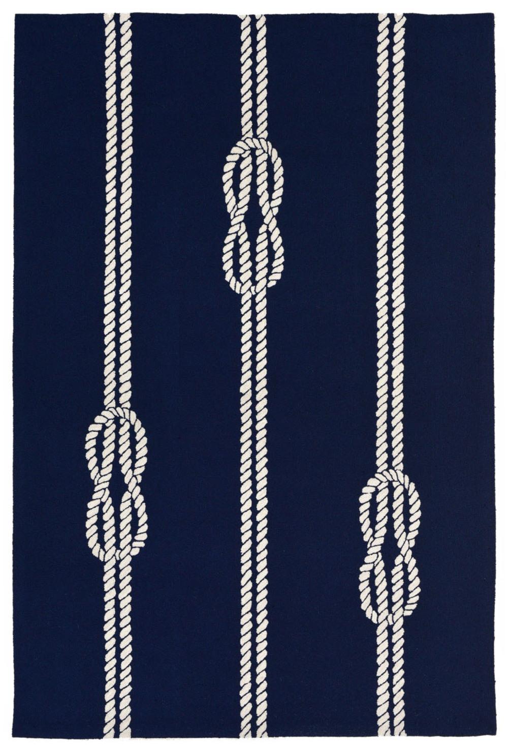 "Trans-Ocean Import - Capri Ropes Navy Rug, 5'x7'6"""