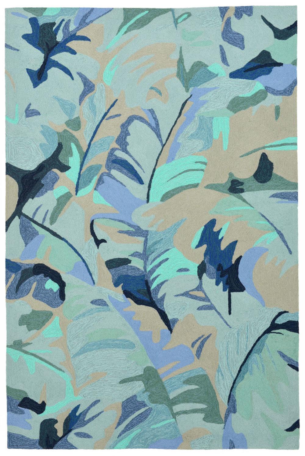 "Trans-Ocean Import - Capri Palm Leaf Blue Rug, 5'x7'6"""