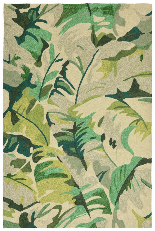 "Trans-Ocean Import - Capri Palm Leaf Green Rug, 5'x7'6"""