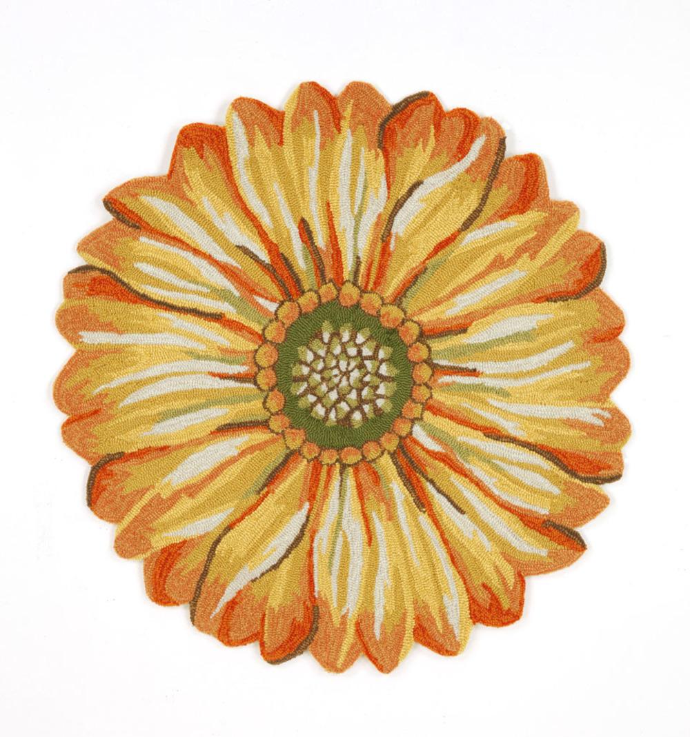 Trans-Ocean Import - Frontporch Sunflower Yellow Rug, 5'x5'