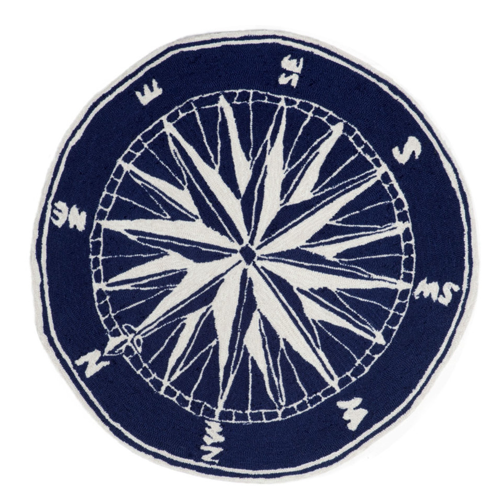 Trans-Ocean Import - Frontporch Compass Navy Rug, 5'x5'