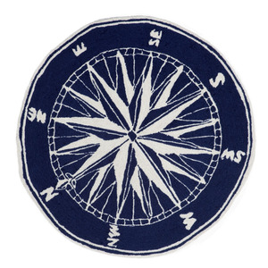 Thumbnail of Trans-Ocean Import - Frontporch Compass Navy Rug, 5'x5'
