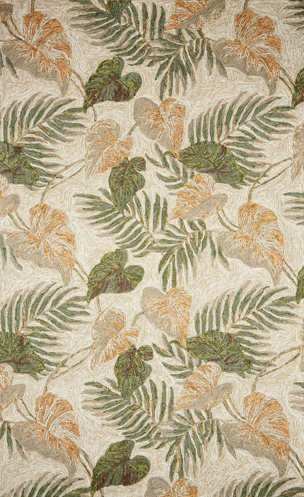 Trans-Ocean Import - Ravella Tropical Leaf Neutral Rug, 5'x8'