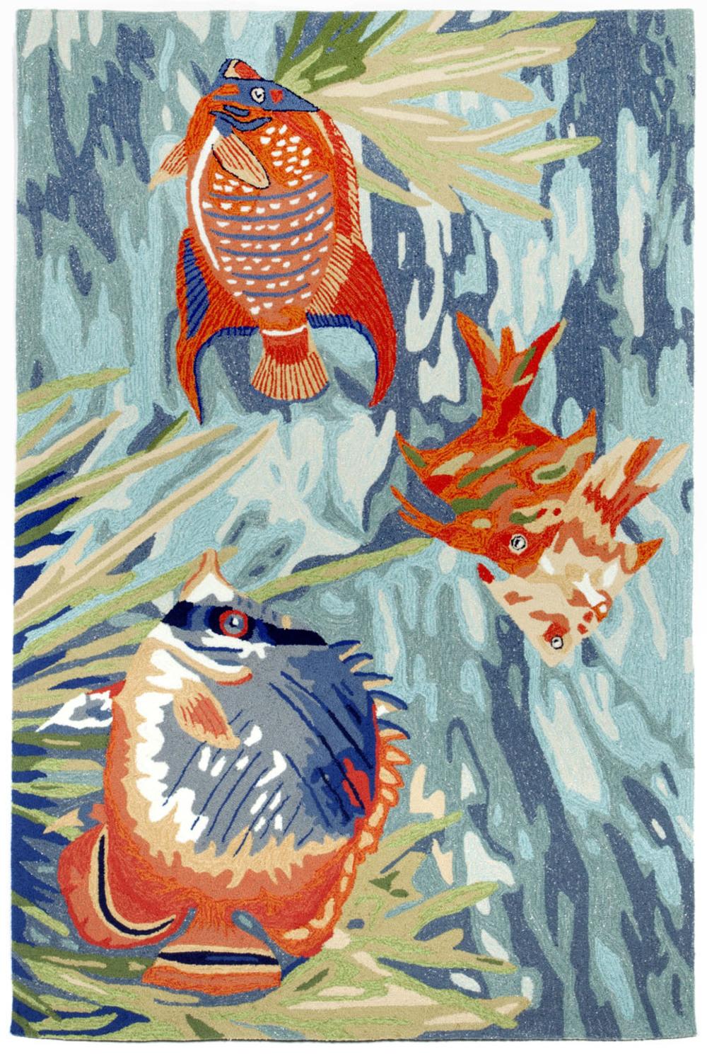 """Trans-Ocean Import - Ravella Tropical Fish Ocean Rug, 5'x7'6"""""""