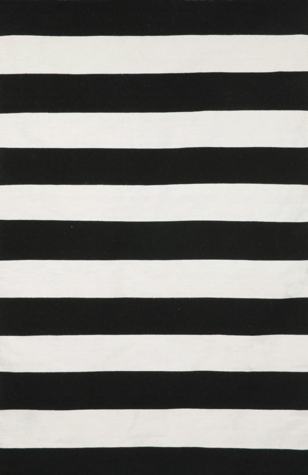 Trans-Ocean Import - Sorrento Rugby Stripe Black Rug, 5'x8'
