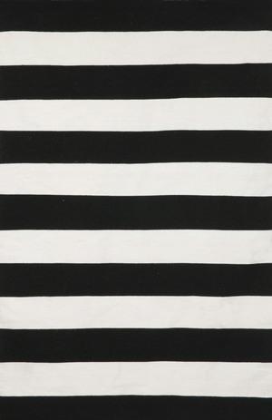 Thumbnail of Trans-Ocean Import - Sorrento Rugby Stripe Black Rug, 5'x8'