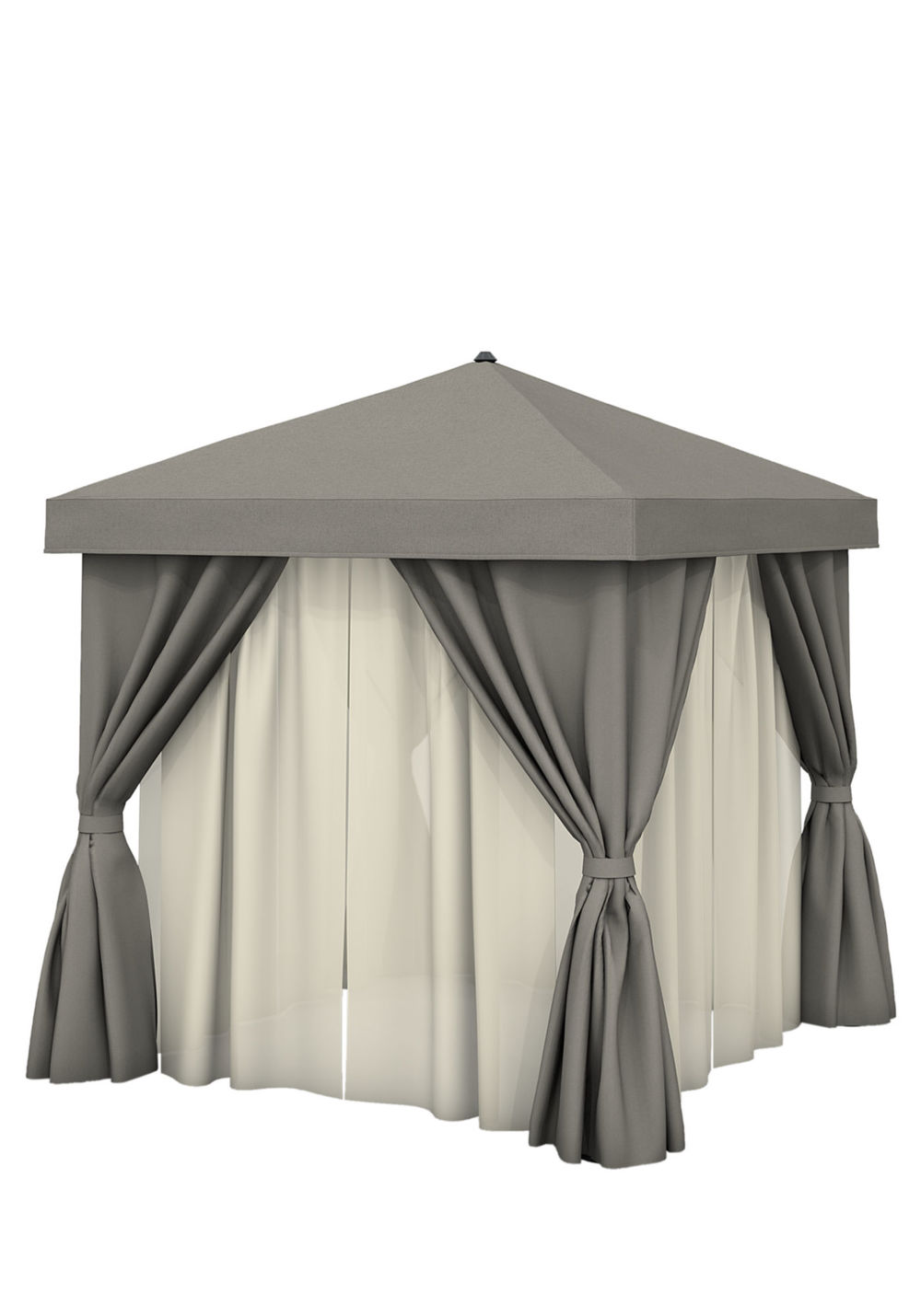 Tropitone Furniture - 8' Square with Fabric Curtains & Sheer Curtain Rods,