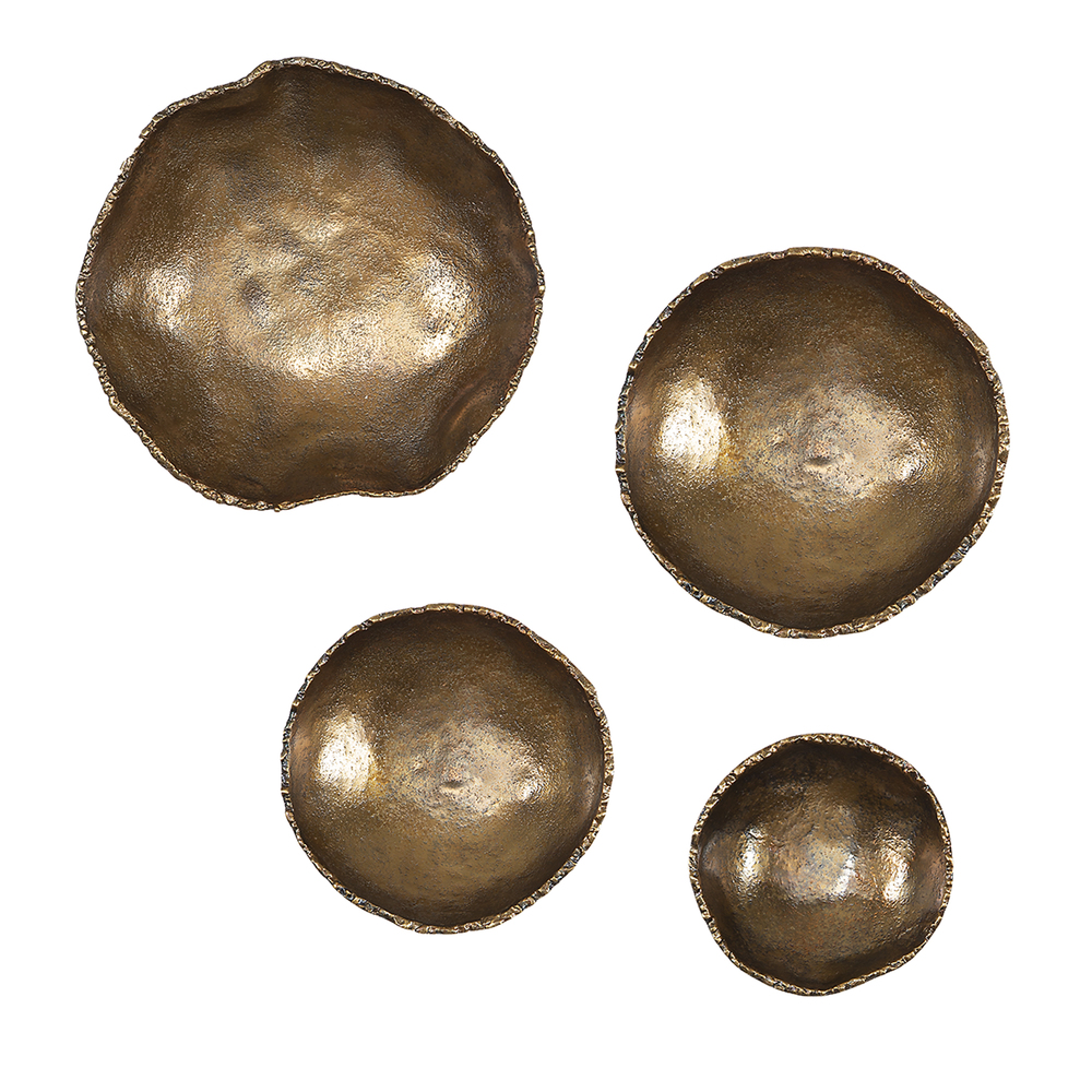 Uttermost Company - Lucky Coins Brass Wall Bowls, Set/4
