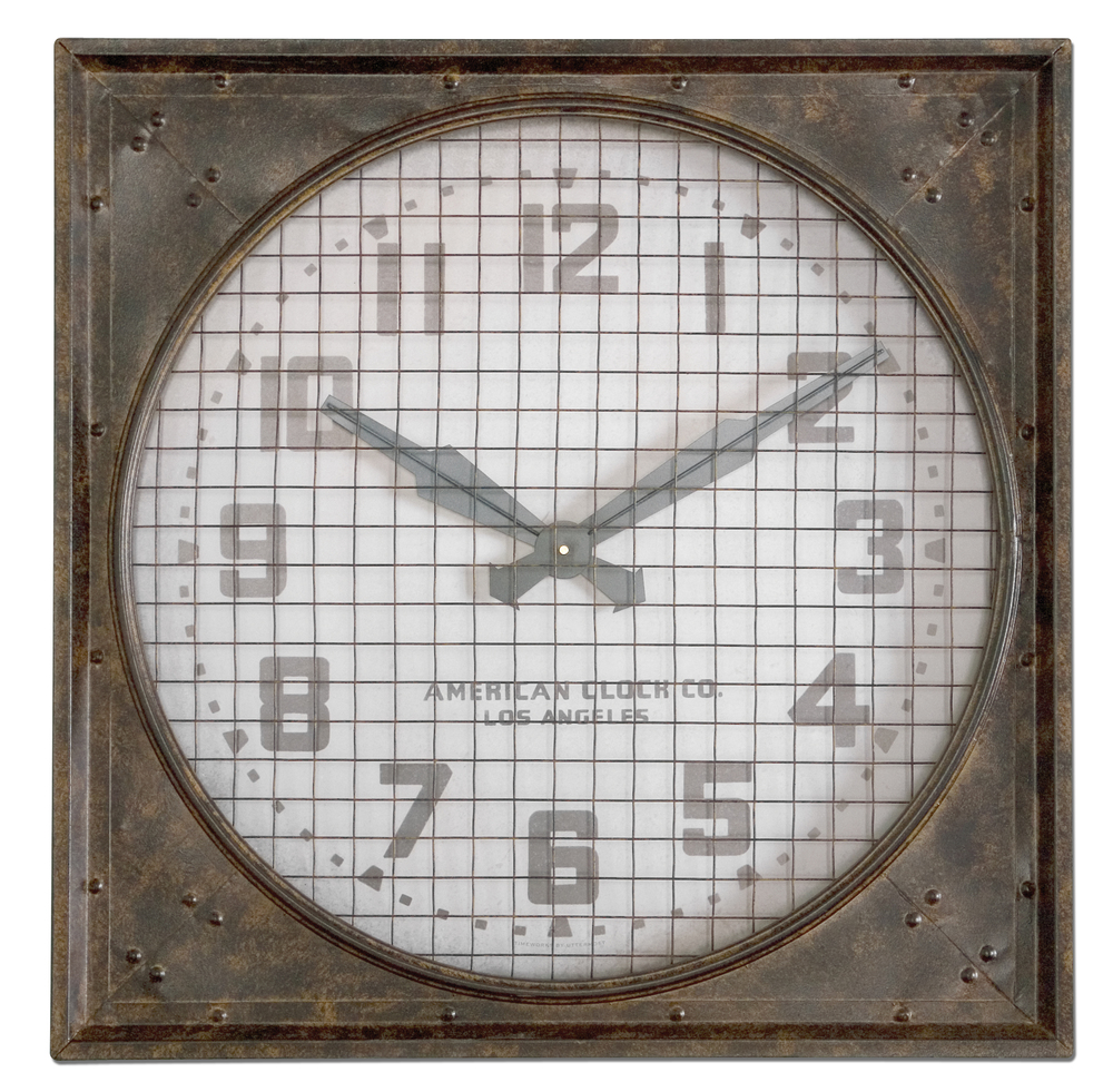 Uttermost Company - Warehouse Wall Clock with Grill