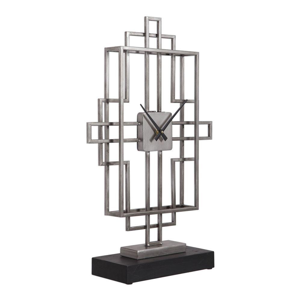 Uttermost Company - Vanini Silver Table Top Clock