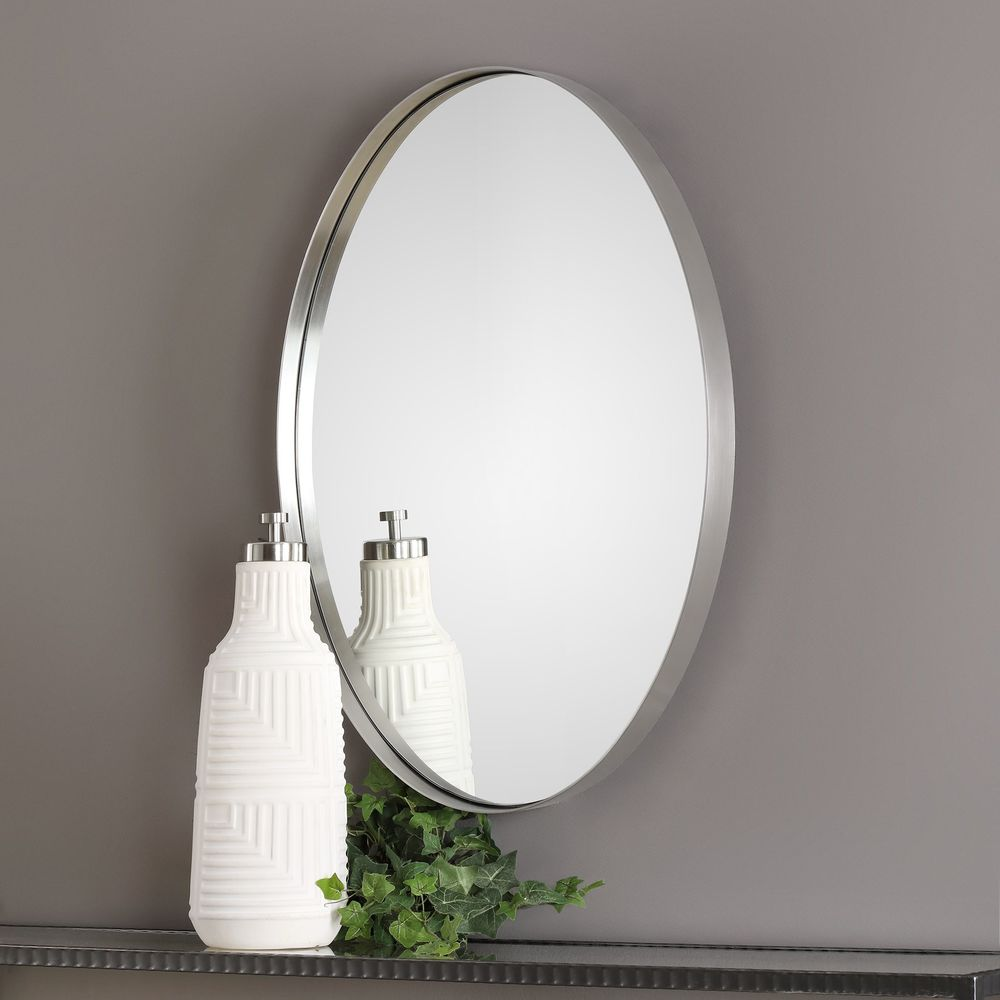 Uttermost Company - Pursley Brushed Nickel Oval Mirror