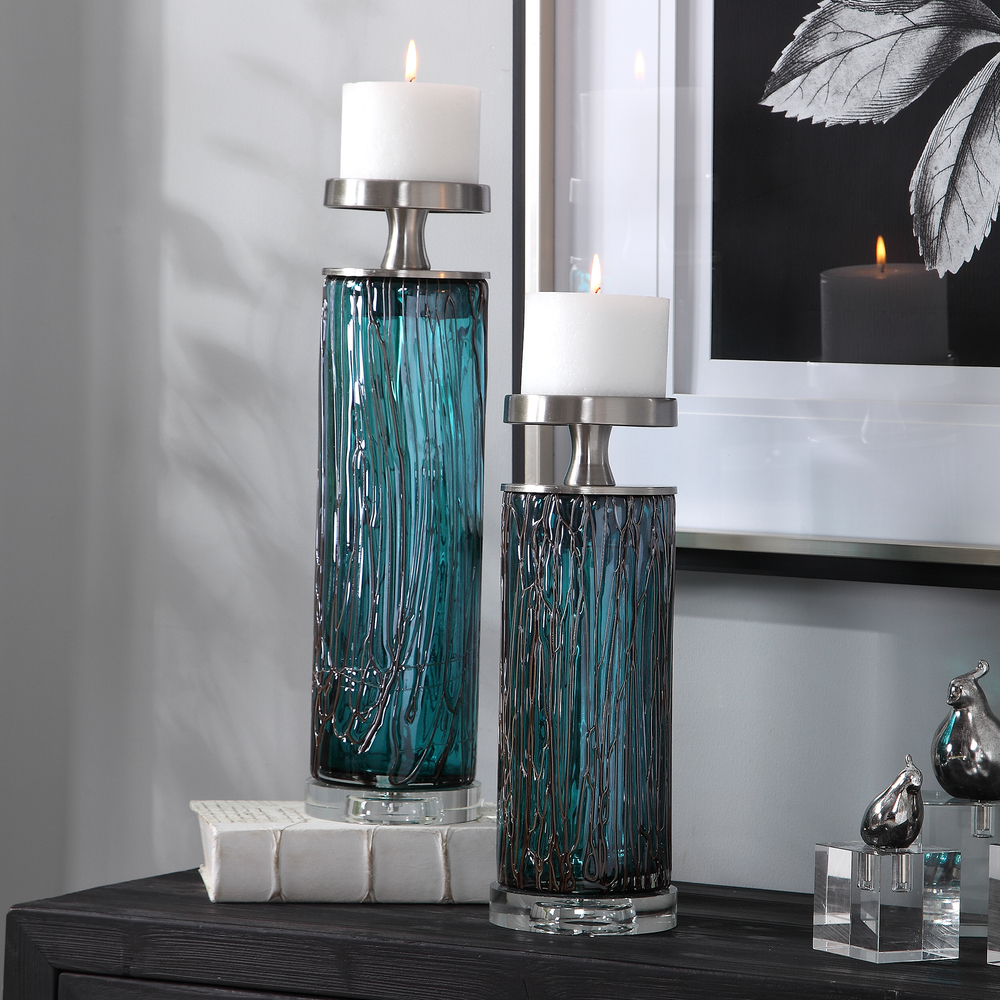 Uttermost Company - Almanzora Teal Glass Candle Holders, Set/2