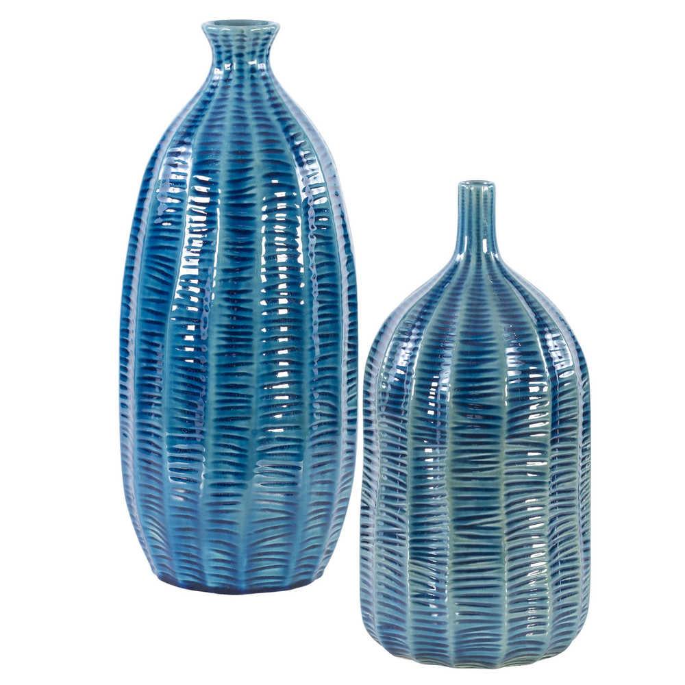 Uttermost Company - Bixby Blue Vases, Set/2