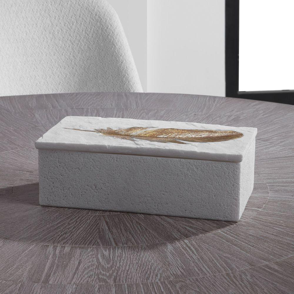 Uttermost Company - Nephele White Stone Box