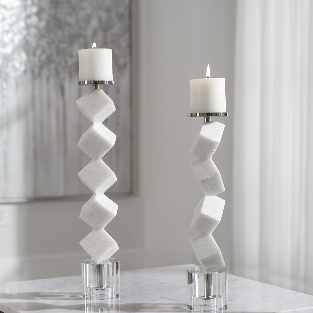 Uttermost Company - Casen Marble Cube Candle Holders, Set/2