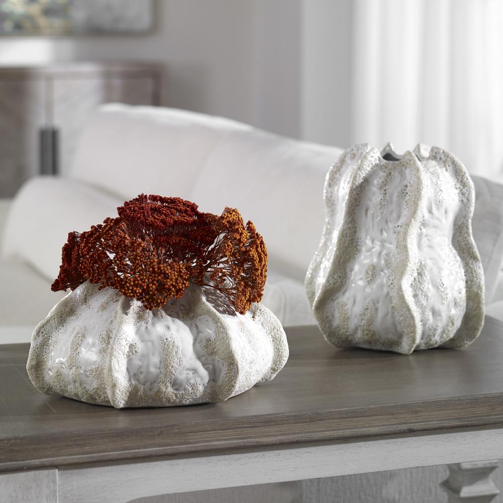 Uttermost Company - Urchin Textured Ivory Vases, Set/2