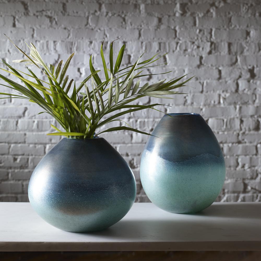 Uttermost Company - Rian Aqua Bronze Vases, Set/2