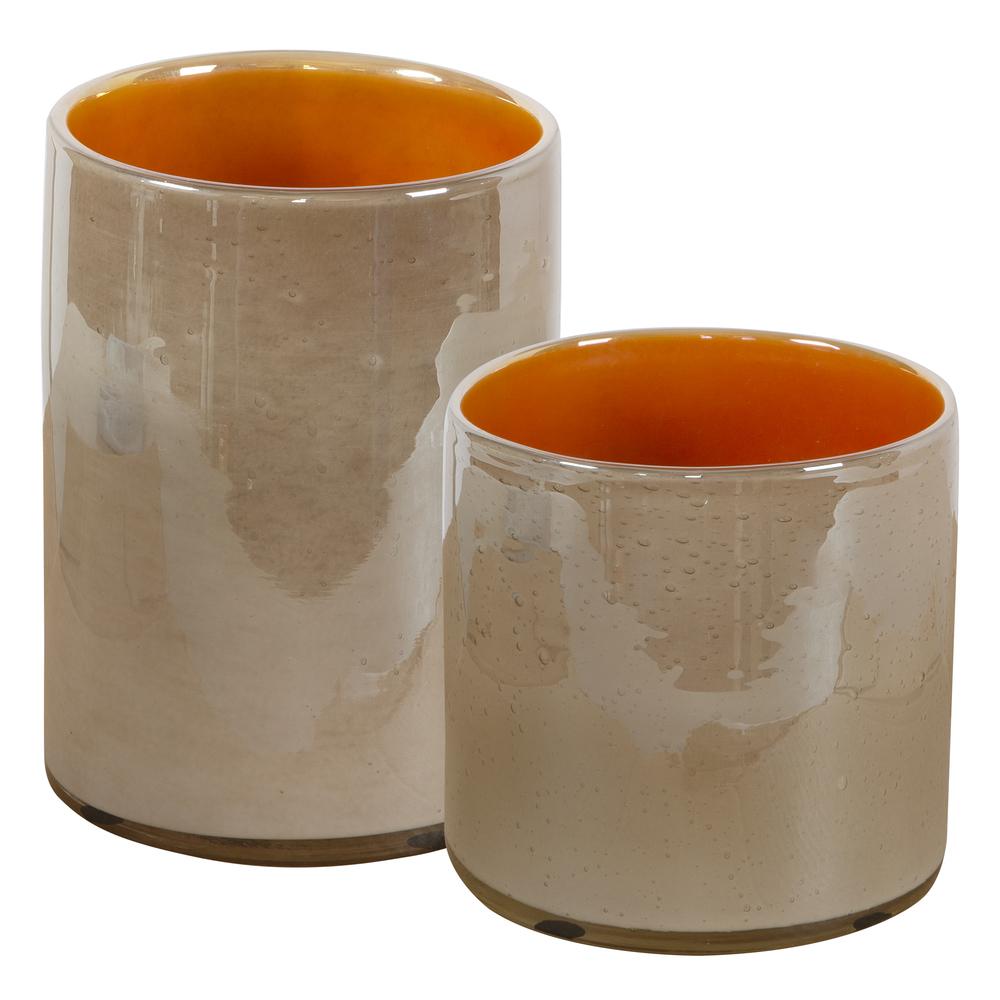 Uttermost Company - Tangelo Beige Orange Vases, Set/2