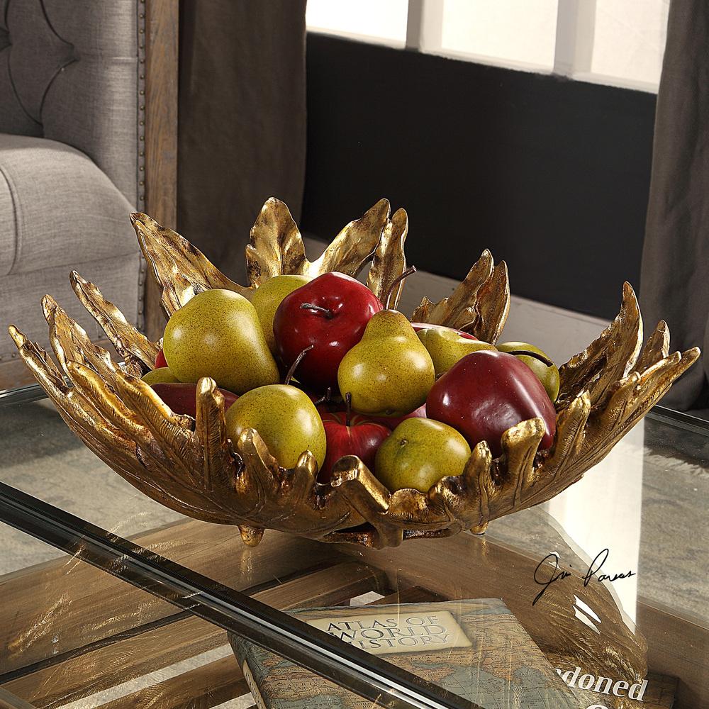Uttermost Company - Oak Leaf Metallic Gold Bowl