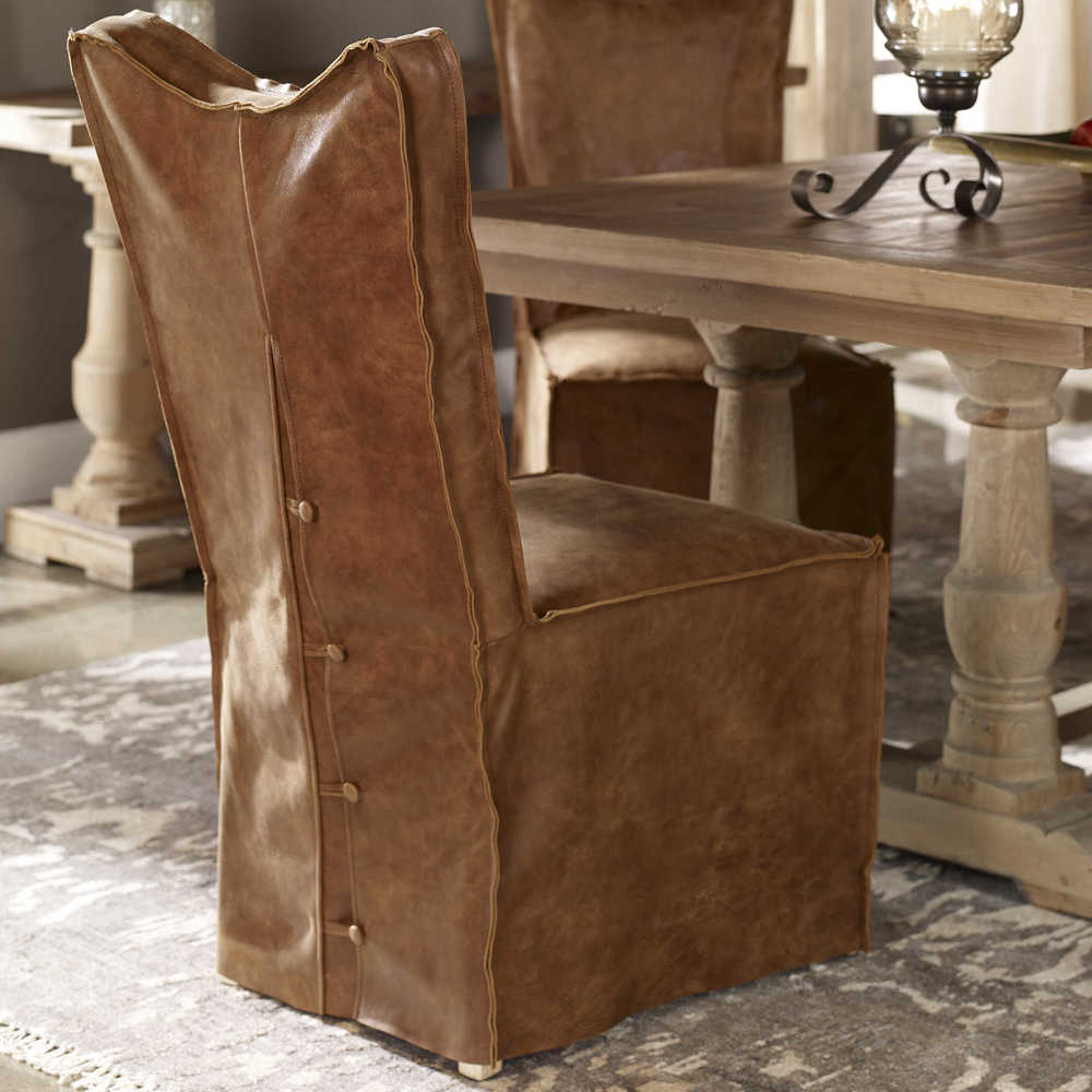 Uttermost Company - Delroy Armless Chair, Cognac