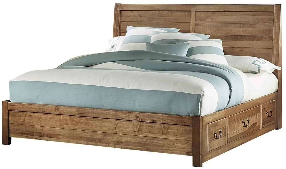 Vaughan Bassett - Plank Bed With 1 Side Storage