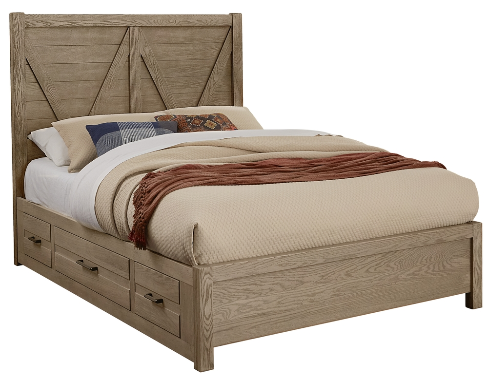 Vaughan Bassett - V Panel Bed With 1 Side Storage Unit
