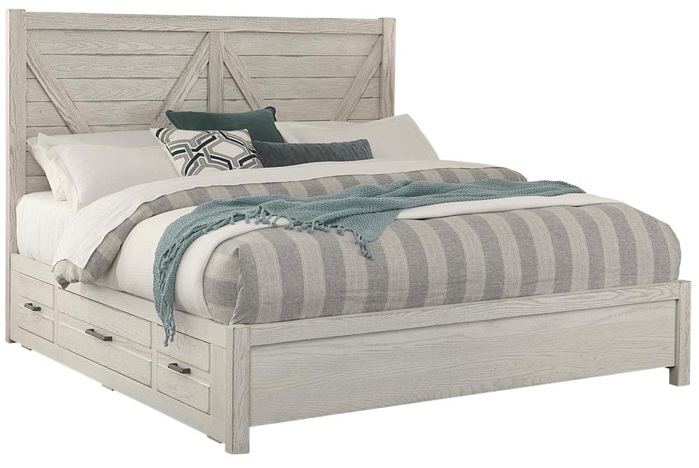 Vaughan Bassett - V Panel Bed With 1 Side Storage Unit