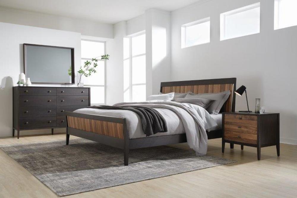 West Bros - Bedside Chest, Walnut Stripe