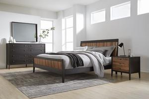 Thumbnail of West Bros - Hayen Panel Bed with Walnut Stripe