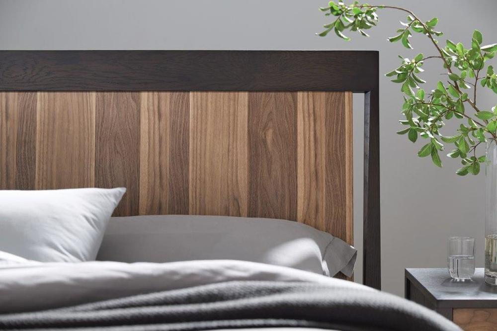 West Bros - Hayden Panel Bed with Walnut Stripe