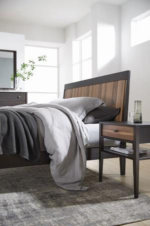 Thumbnail of West Bros - Hayden Panel Bed with Walnut Stripe